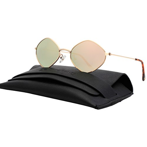 VIVIENFANG Lightweight Metal Frame Mirror Lens Polarized Small Sunglasses For Unisex G87563C - Makes Small Faces Sunglasses For Who