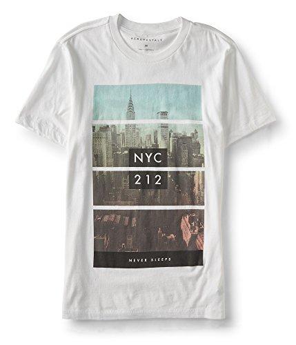 Aeropostale Men's NYC Never Sleeps Graphic Tee Large Bleach