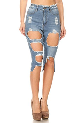 Wsf Womens Denim Extreme Distressed Cut Out Bermuda Shorts Jeans With Fake Pocket Light Wash Small