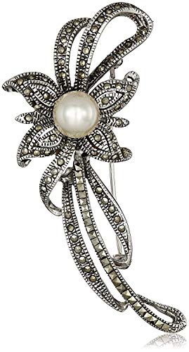 Sterling Silver, Marcasite, and Man-Made Pearl (12 mm) Pin ()