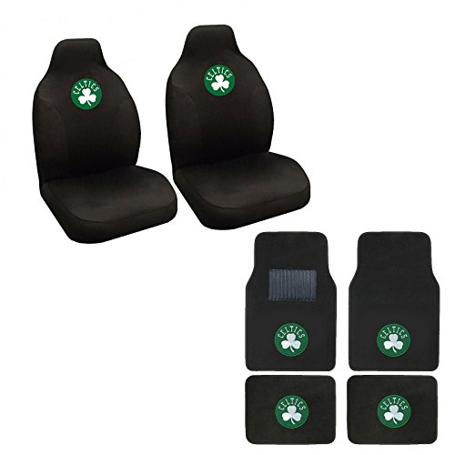 NBA CELTICS Seat Cover and Floor mat. Wow! Celtics Logo On Front and Rear Auto Floor Liner. Universal Fit High Back Seat Cover Promptly display Celtics Spirit