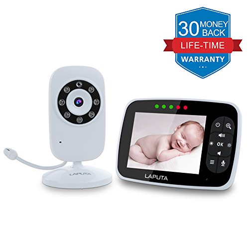 (Upgraded Version) Video Baby Monitor, LAPUTA 3.5' Large LCD Screen Display with Night Vision Camera, Two Way Talk Audio, Temperature Sensor, ECO Mode, Lullabies and Long Transmission Range