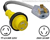 10-50P 3-Pin Male Range Stove Oven 220/250V Plug To TT-L5-30 Female Twist Lock RV Camper Travel Trailer Motor Home 110/125V Receptacle Outlet Adapter, Electrical Power Cord Convert NEMA FX125V784