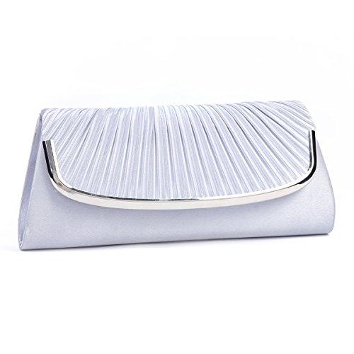 (Damara Womens Simple Pleated Satin Clutch Evening Bag (Silver))