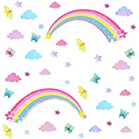 Easu Rainbow Wall Decal Clouds Wall Decal Butterfly Peel and Stick Wall Decal Kids Room Wall Sticker Nursery Home Decor