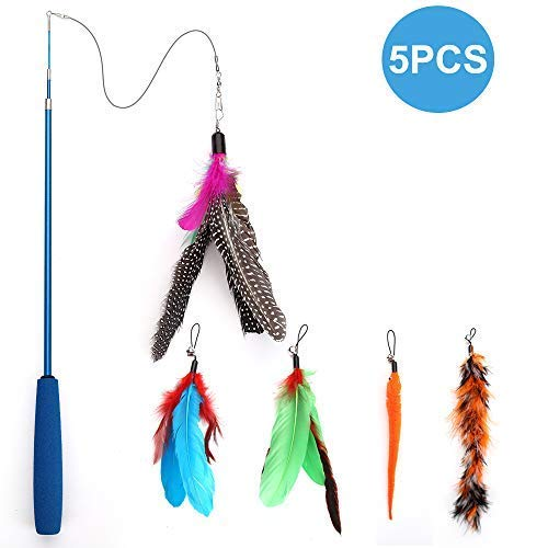 Becory Feather Teaser Cat Toy, Retractable Cat Feather Toy Wand with 5 Assorted Teaser with Bell Refills, Interactive Catcher Teaser for Kitten Or Cat Having Fun Exerciser Playing 2