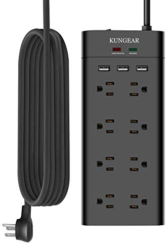 12Foot Extra Long Cord Power Strip Surge Protector, Kungear 8-Outlet 1050J Surge Protector, 15A/1800W, Low Profile Flat Plug, 5V 3.1A Smart USB, Wall Mountable, Idea for Home and Office, Black
