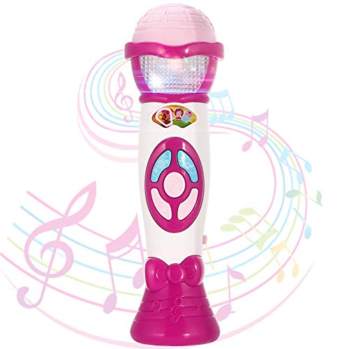FunsLane Kids Voice Changer Microphone Toy Karaoke Machine For Toddler With Recording, Play Music Function, Colorful Lights, Party Favor Toy Great Birthday Holiday Gift for Girls Boys, Pink by FunsLane (Image #1)