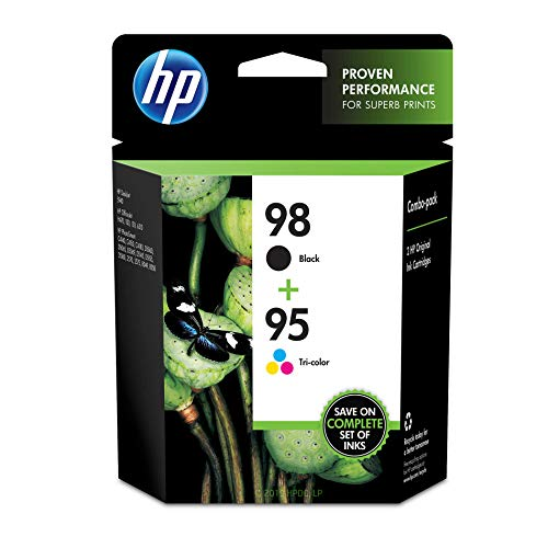 HP 98 Black & 95 Tri-color Ink Cartridges, 2 Cartridges (C9364WN, C9368WN) for HP Deskjet 460 2575 C4150 C4180 6830 6840 9800 HP Officejet 100 150 6940 6988 H470 7210 7310 7410 J6480 HP Photosmart 335