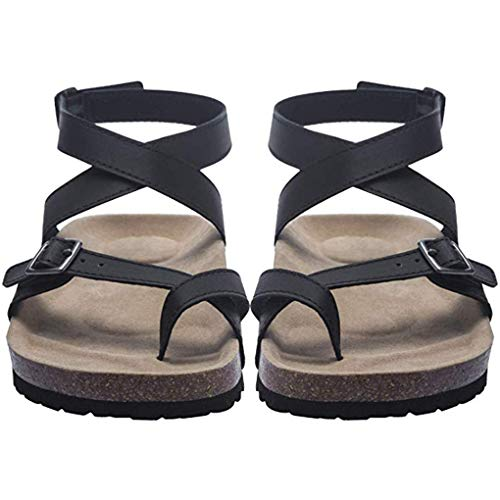 - Women Flat Sandals Buckle Strappy Sandals Cross Toe Ankle Strap Cork Sole Leather Flat Mayari Sandals (US 6, Black)
