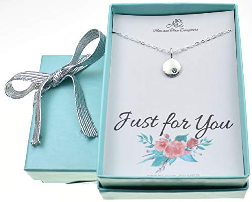 March Little girl's birthstone necklace in sterling silver on a 16
