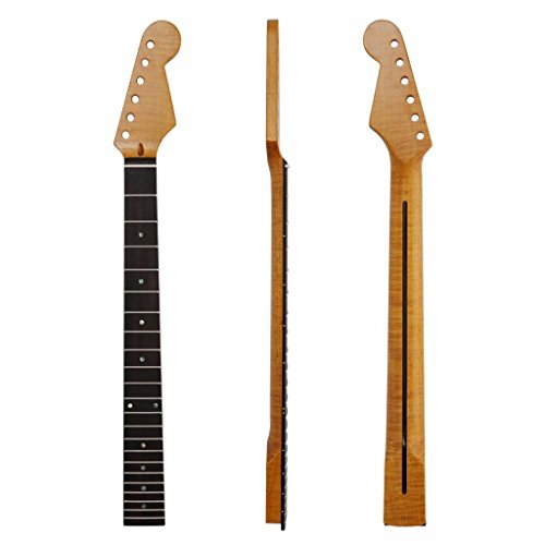 KAISH 22 Fret Vintage Yellow Glossy ST Strat Guitar Neck Tiger Flame Maple/Rosewood Abalone Inlay Bone Nut