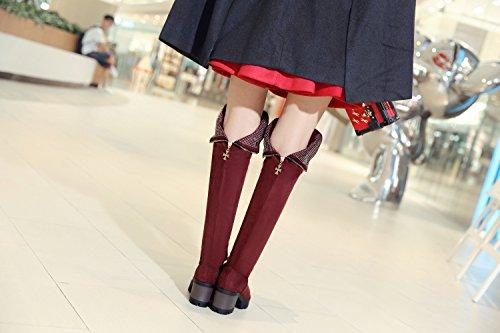 Homiki Damenstiefel Mehrfarbig Fellsamt Round Toe Langschaft Stiefeletten OverkneestiefelBlockabsatz mit Plateau Blau