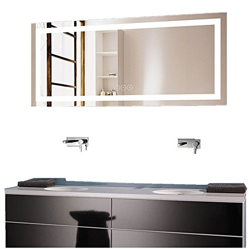 Decoraport 70 x 32 in Horizontal Dimmable LED Bathroom Mirror with Anti-Fog -