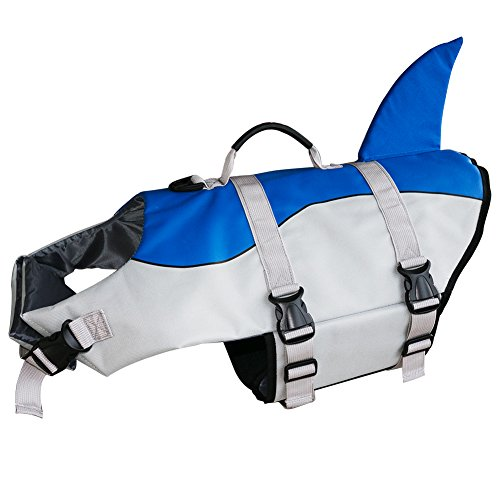 Flotation Pet Vest (Ofilon Dog Life Jacket, Ripstop Pet Life Vest Preserver for Small, Middle, Large Size Dogs Water Safety Swimsuit Flotation Device at the Pool Swimming, Beach, Boating (Blue Shark, M))