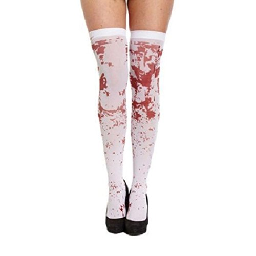 Oksale Halloween Women Horror White Bloody Nurse Fancy Long Socks Party Costume (Bloody Sock Monkey Costume)