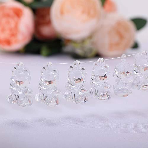 - Tableclothsfactory 96 PCS Acrylic Crystal Garland Hanging Wedding Party Decoration Teddy Bear - Clear