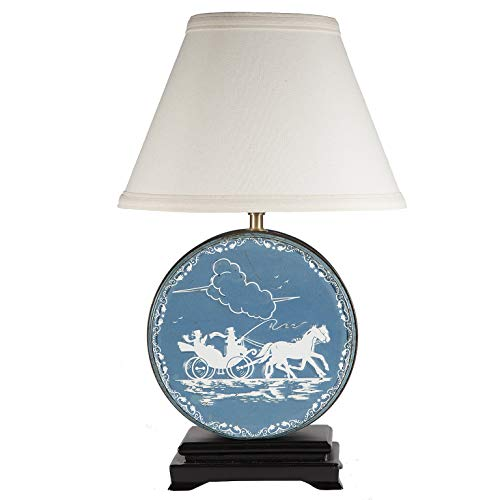 Vintage Blue & White Round Silhouette Tin Up-cycled Lamp with New Fabric Lamp Shade