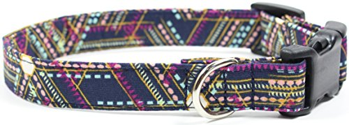 Ruff Roxy Wander Lights, Tribal Geometric Pattern, Navy Designer Cotton Dog Collar, Adjustable Handmade Fabric Collars (S - 3/4) by Ruff Roxy