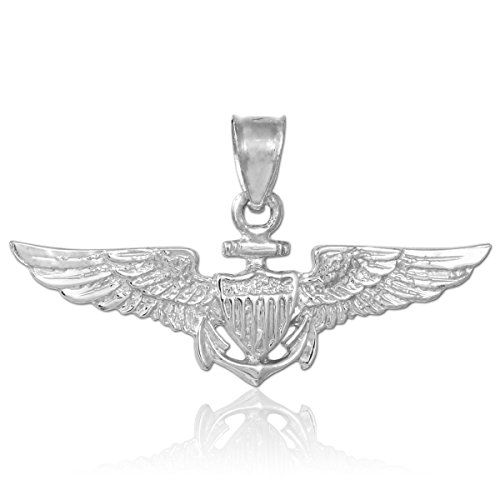 Solid Charm Sterling Silver Eagle (American Heroes Solid 925 Sterling Silver US Naval Aviator Wings Pendant)