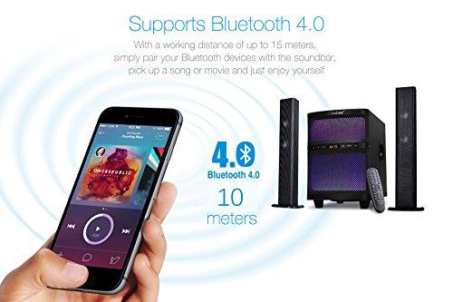 LuguLake TV Sound bar Speaker System with Subwoofer, Bluetooth, Adjustable LED Lights, FM Radio, USB Reader, Composable Floor Speaker by LuguLake (Image #6)