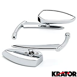 Krator® Chrome Grim Reaper Universal Custom Motorcycle Cruiser Mirrors - Free Adapters Custom Rear View Mirrors Chrome Pair w/Adapters