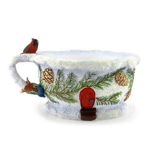 Planter Cardinal - Miniature Fairy Garden Winter Cardinal Teacup Planter
