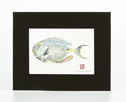 Matted Gyotaku Art Fish Print: Unicornfish Surgeonfish ( 8 x 10)