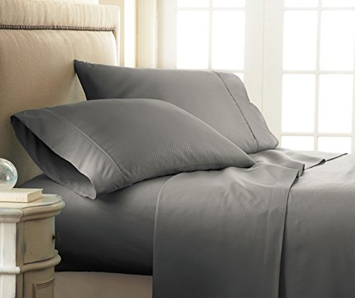 Royal Collection 1900 Thread Count Luxurious Designer Collection Sheets With 1 Flat, 1 Fitted & 4 Pillow Cases. Wrinkle Free, Shrinkage Free & deep Pockets (King Size, Dark Gray)