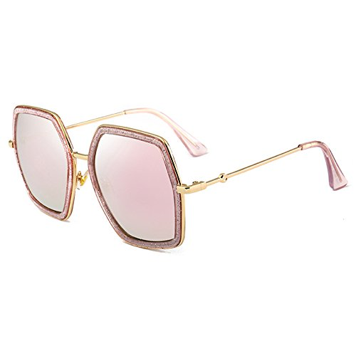 Señoras de Mujer de Lujo UV400 E Sol E de Burenqi Espejo Sombras Sol diseñador Gafas Crystal Gafas Marco Sobredimensionado Marca Plaza Grandes 7ABxwY