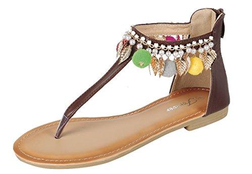 Da Donna Per Sempre Dev-5 Flip Flopecorated Sandalo Gladiatore T-strap Scarpe Marrone Festivo-7
