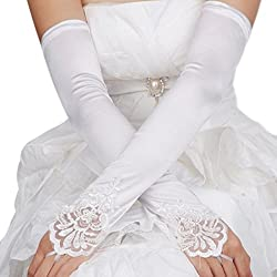 Bridal Gloves Fingerless Lace Glove for Wedding Long Accessories Ivory