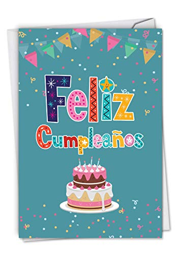 - Feliz CumpleaÒos: Hysterical Birthday Greeting Card With Sparkling Confetti and Shining Words in Spanish, with Envelope. C6587BDG-SL
