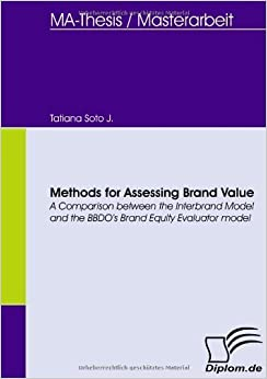 Book Methods for Assessing Brand Value. A Comparison between the Interbrand Model and the BBDO's Brand Equity Evaluator model by Tatiana Soto J. (2008-08-08)