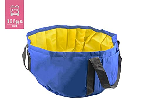 LILYS PET Portable Folding Bath tub Swimming Pool for Small Dogs and Cats Outdoor/Indoor,18''×18''×9'' (Tub For Small Pets)