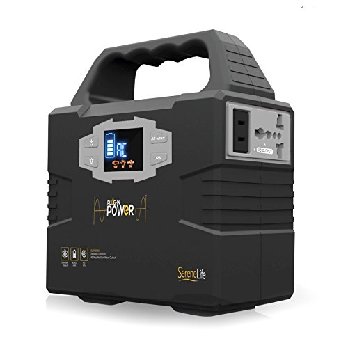 SereneLife Portable Generator, 150Wh Power Station, Quiet Gas Free Power Inverter, CPAP Battery Pack, Charged by Solar Panel/Wall Outlet/Car with 110V AC Outlet,3 DC 12V, USB Port