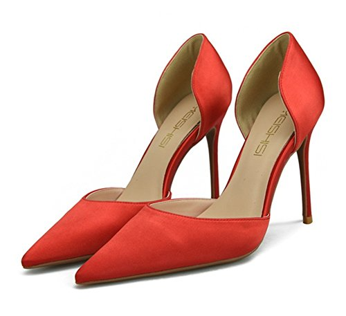 Closed High Heels For Party Shoes Women Pointed Dress Pumps Satin red Wedding Women's Toe Stiletto Ladies ZPL xHwvqTI