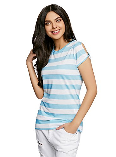 oodji Ultra Mujer Camiseta Recta con Aberturas en las Mangas Turquesa (7310S)
