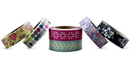 LolliZ Washi Tape  Flower Bouquet Set with Six Rolls of Fun and Festive Colors