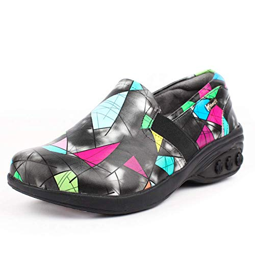 (Annie Women's Slip Resistant Leather Slip On - for Plantar Fasciitis/Foot Pain Black)