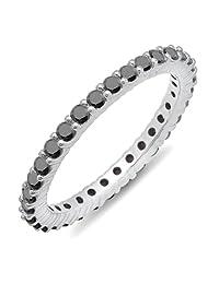 1.00 Carat (ctw) 18k White Gold Round Black Diamond Ladies Eternity Stackable Ring Wedding Band 1 CT