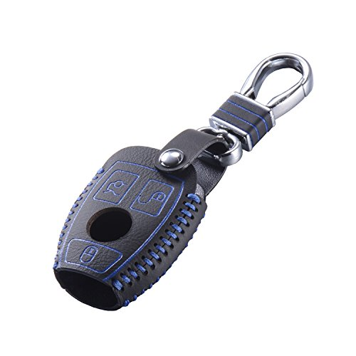 DKMUS Leather Key Cover for Mercedes Benz W203 W204 W210 W211 AMG Class A B C E S ML GL CLA CLK C180 E200 Remote FOB Case Keychain (Advanced Quality Blue)