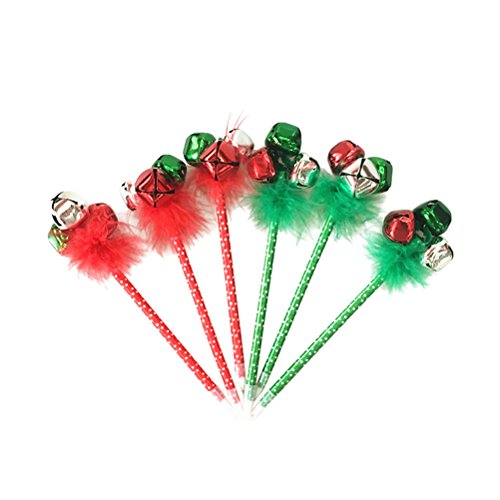 Christmas Holiday Pen - NUOLUX 6Pcs Red and Green Christmas Ballpoint Pen Themed Jingle Bell Pen for Christmas Holiday Festive Party Favors Gift Pens