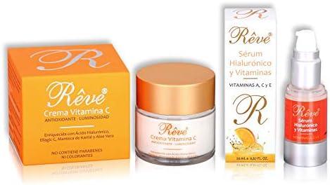 REVE pack - Crema Facial Vitamina C + Sérum Hialurónico y Vitaminas A, C y E - Antioxidante,