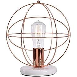 Lampworks Table Lamp Globe Copper Bedside Lamp Marble Base Spherical Desk Lamp Modern Art Design Light for Bedrooms Living Room(Bulb Not Included)