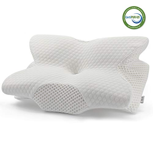 Coisum Back Sleeper Cervical Pillow - Memory Foam Pillow for Neck and Shoulder Pain Relief - Orthopedic Contour Ergonomic Pillow for Neck Support with Breathable Cover - CertiPUR-US ()