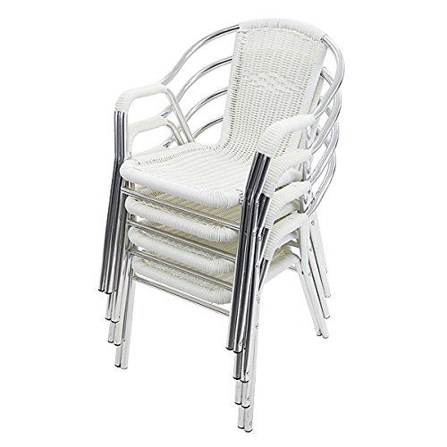 人工ラタンチェア 4脚セット ホワイト 籐 肘掛けカバー付き 家具 ファニチャー インテリア おしゃれ スタッキングチェア chair 椅子 チェア 南国 アジアン バリ風 リゾート カフェ ベランダ バルコニー テラス 庭 ガーデン 白 rattan174setwh B075YNRBGX