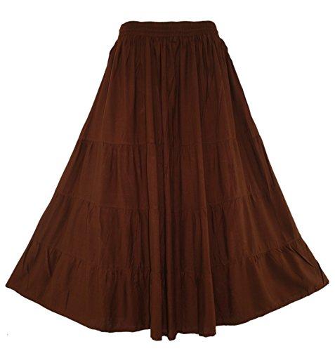 Beautybatik Brown Boho Gypsy Long Maxi Tiered Skirt 1X]()