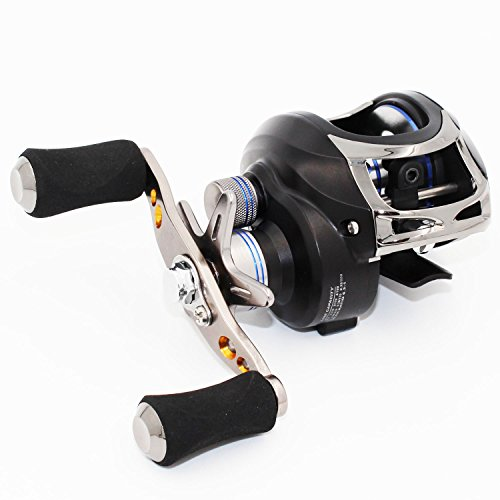 Berrypro Saltwater Casting Reel Low Profile Baitcast Fishing Reel 10+1 Ball Bearings Baitcaster Reel 6.3:1 Baitcasting Reel Magnetic Brake System Fishing Reel (Black(right hand))