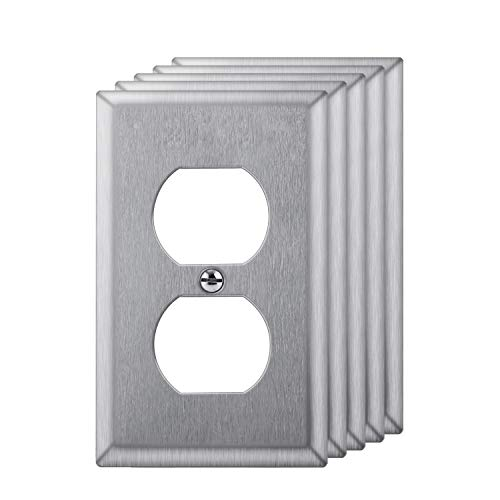 [5 Pack] BESTTEN Duplex Receptacle Outlet Metal Wall Plate, 1-Gang Standard Size, Anti-Corrosion Stainless Steel Outlet and Switch Cover, Industrial Grade 304SS, Silver